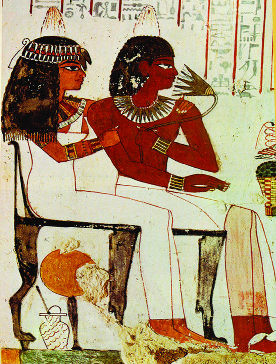 Ancient Egyptian man and woman sitting color
