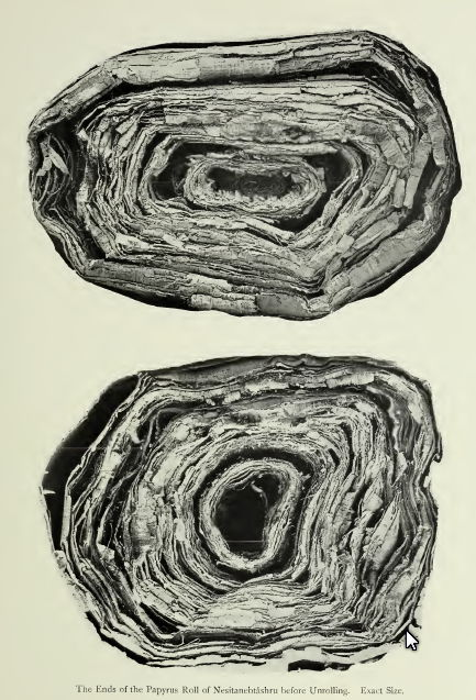 rolled up papyrus-PAPYRUS OF NESITANEBTASHRU -greenfield papyrus