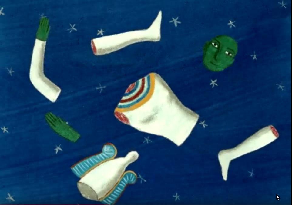 Body of Asar in pieces Osiris-from Nile cartoon