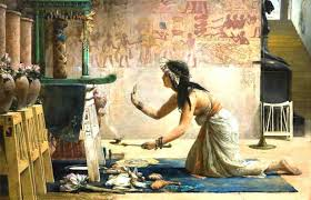 european lady making egyptian offering to BAst