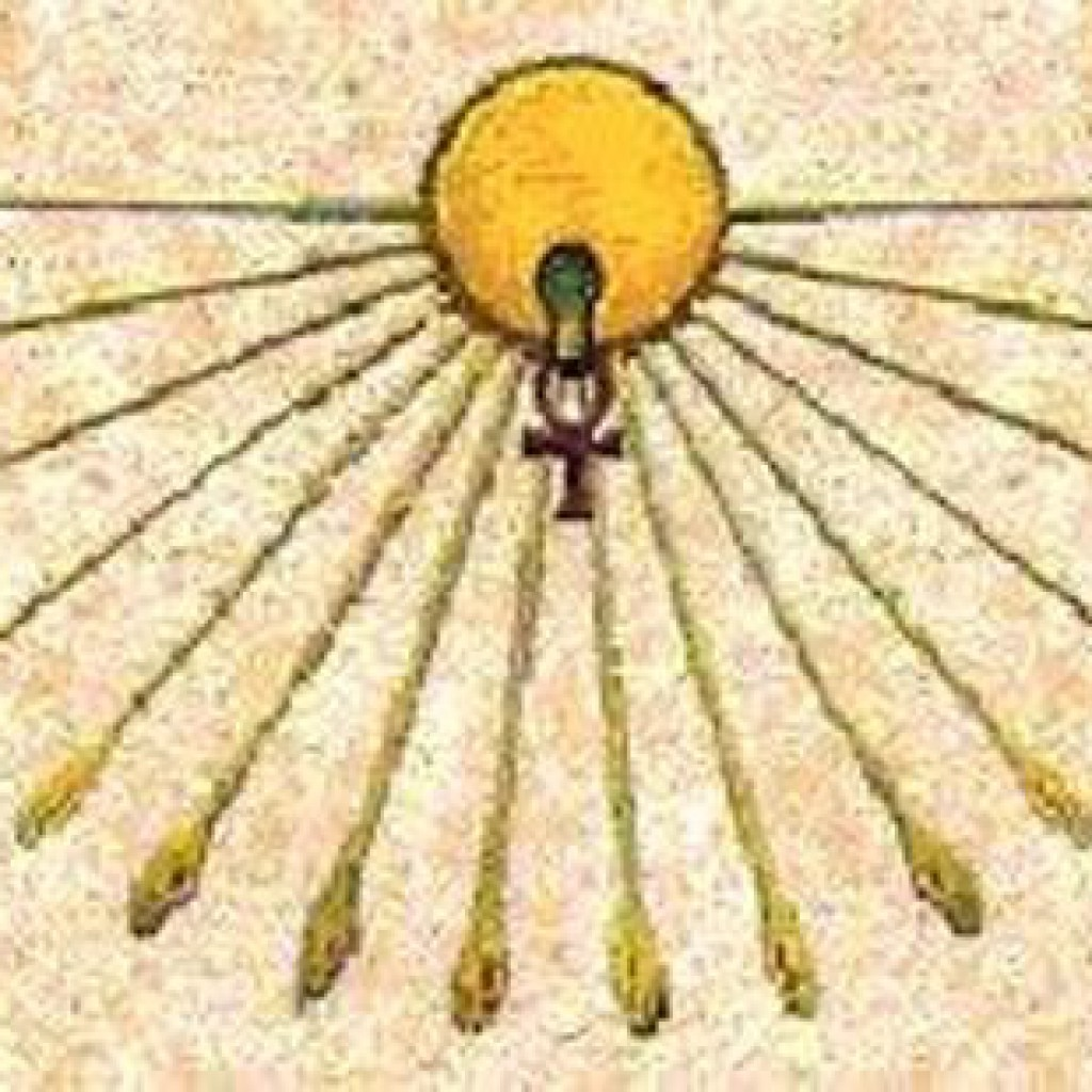 Aton with hand rays and Ankh