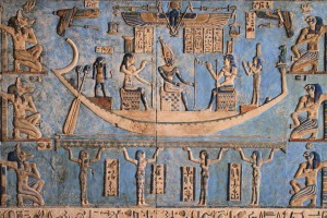 Boat of Asar from Dendera with Maat and Djehuty and Heru Aset and Nebethet