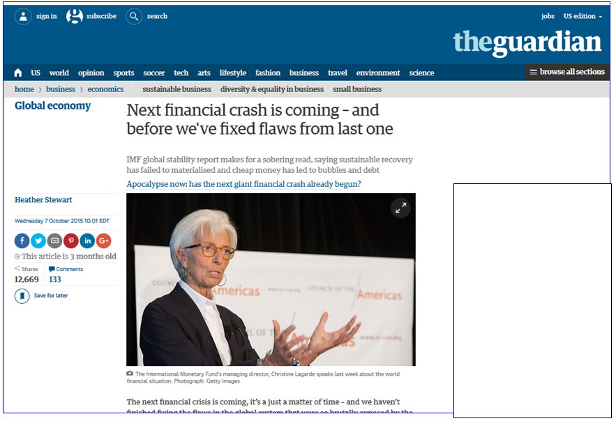 Guardian -Next financial crash coming