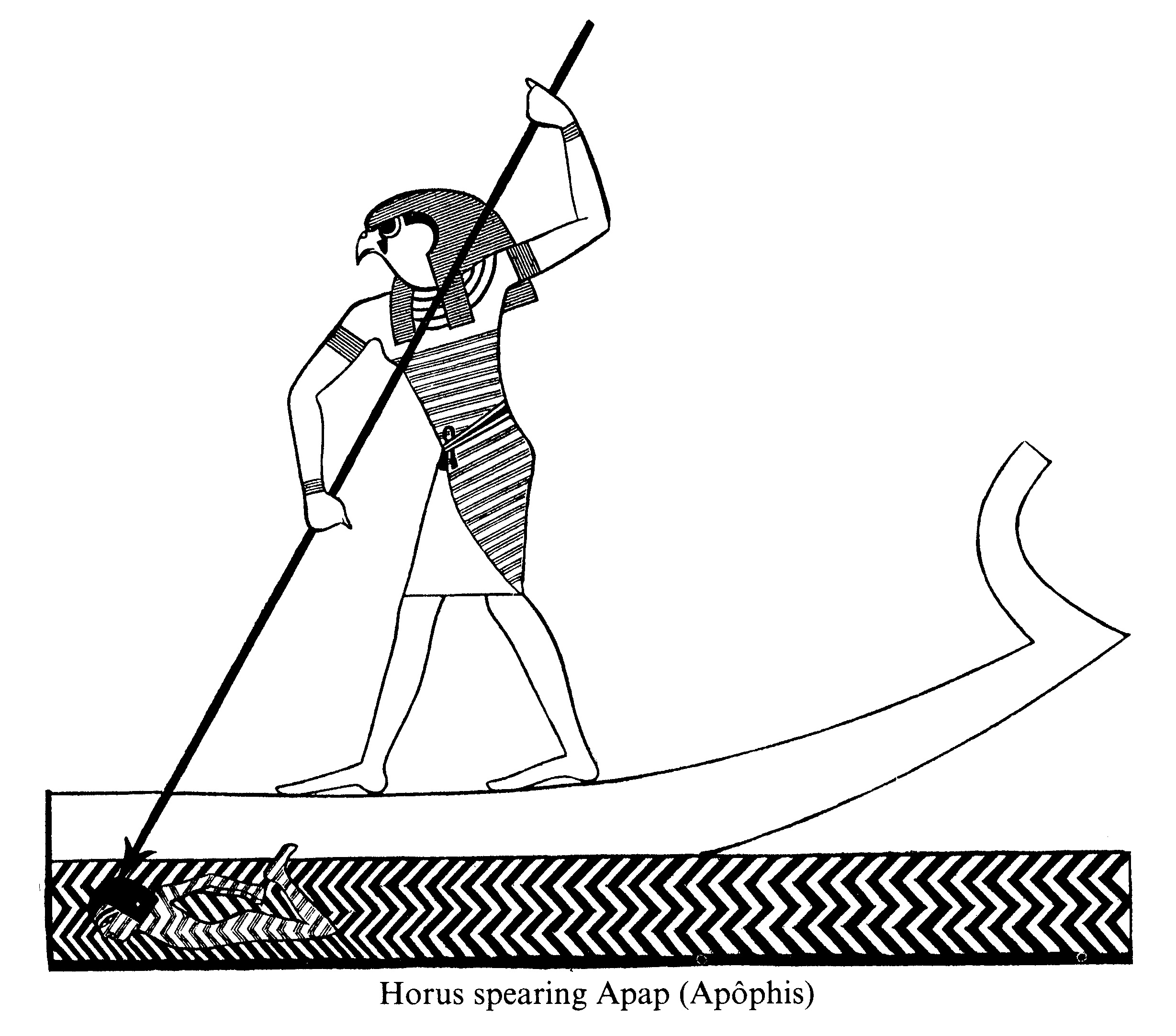 Heru spearing Apep who is in the form of a man