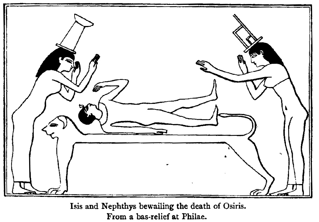 Isis and Nephthys crying over body of Osiris
