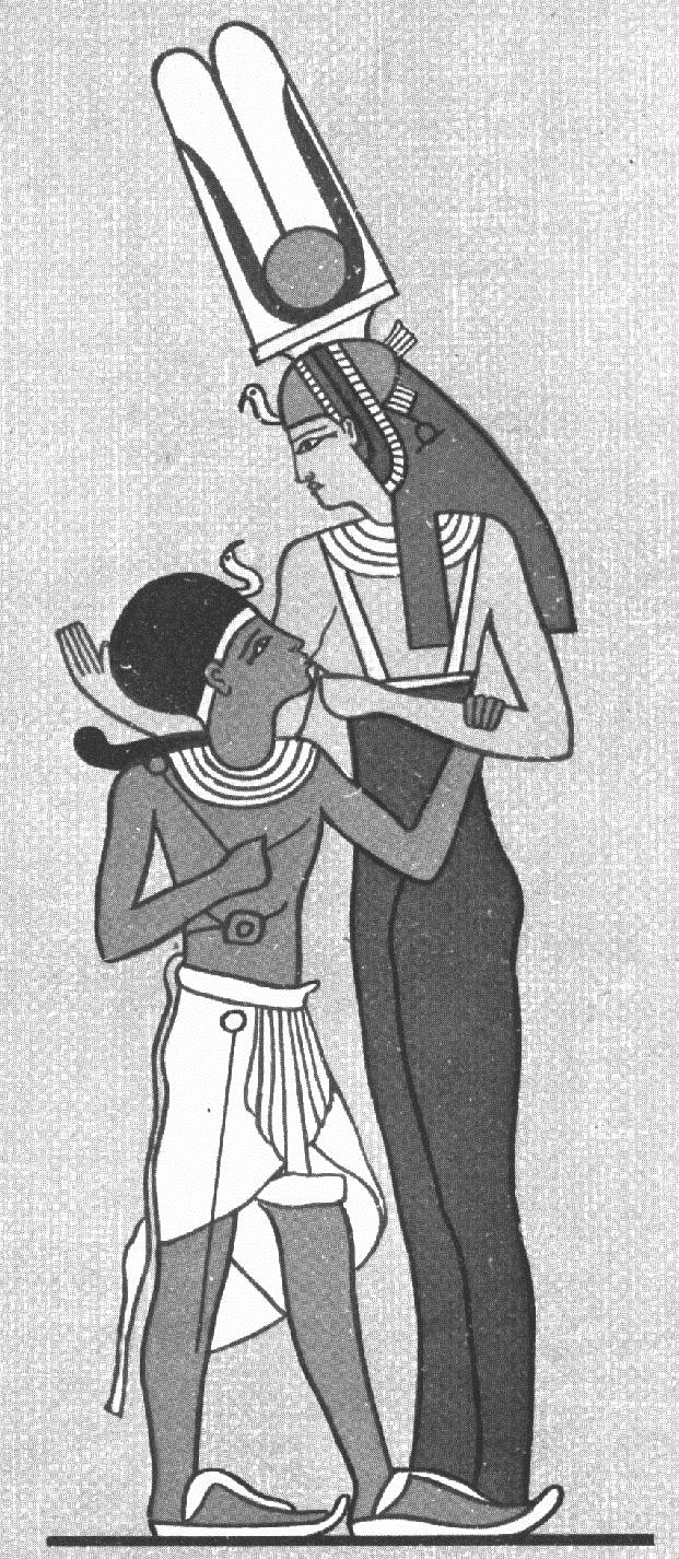 Isis suckling Horus Gray