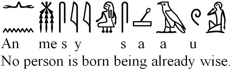 No person is born being already wise-Ptahotep trans by MAA