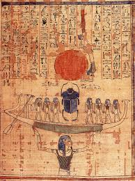 Nun with Boat on orig papyrus
