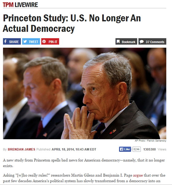 Princeton study US is not a democracy
