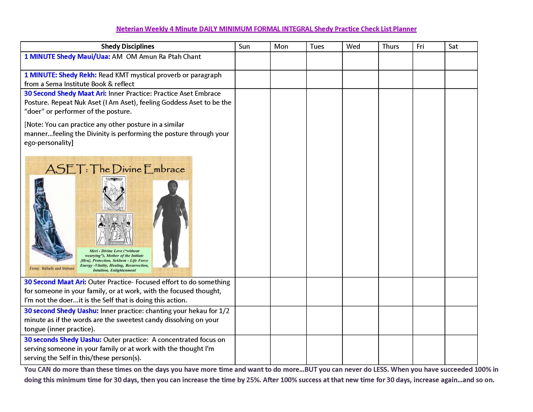 Weekly 4 Minute DAILY MINIMUM FORMAL INTEGRAL Shedy Practice Check List Planner