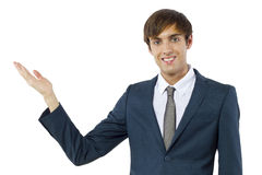 man in introduction-presentation posture